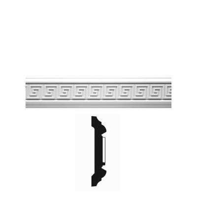 3/4 in. x 3-1/2 in. x 96 in. Primed Polyurethane Greek Key Chair Rail Moulding