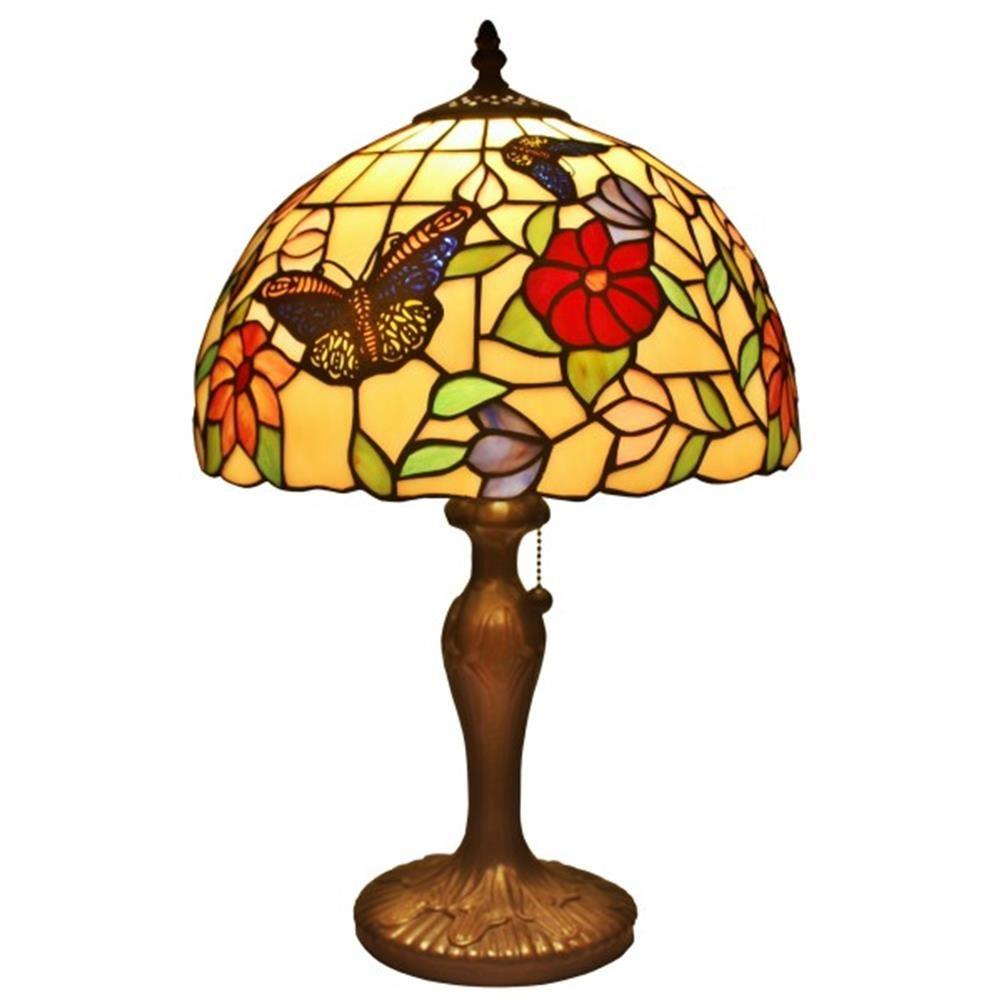 Amora Lighting 19 in. Tiffany Style Butterflies Table Lamp