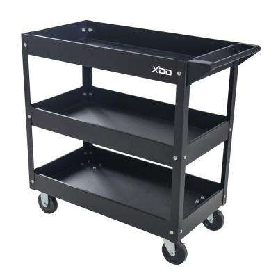 29 in. 3-Tray 0-Drawer Rolling Tool Utility Cart in Black