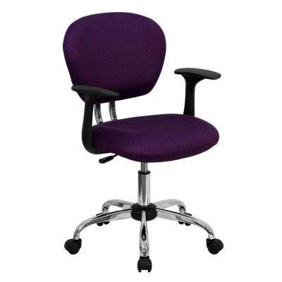 Mid-Back Purple Mesh Swivel Task Chair with Chrome Base and Arms