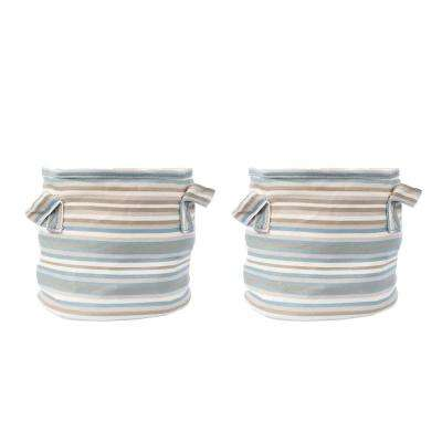 7.5 in. Dia Grey Multi-Color Fabric Planter with Liner (2-Pack)