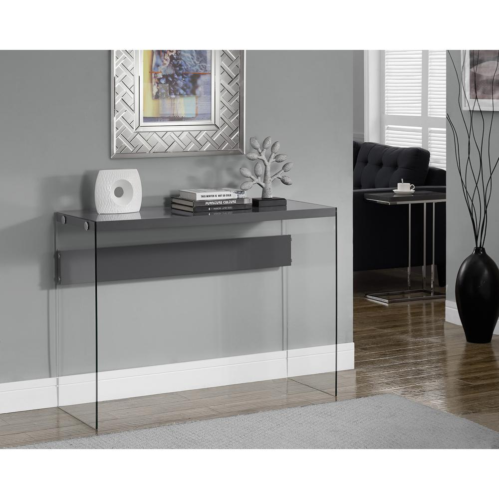 Monarch Specialties Glossy Grey Console Table