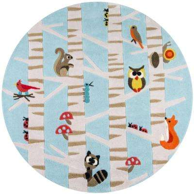 Lil Mo Whimsy Forest Critters Light Blue 5 ft. x 5 ft. Indoor Kids Round Area Rug