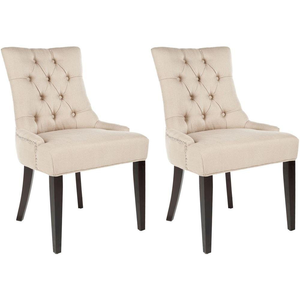 Abby Biscuit Beige/Espresso Cotton Blend Side Chair (Set of 2)