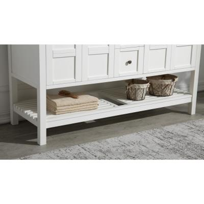 Montaigne 60 in. W x 35.75 in. H Bath Vanity in White with Marble Vanity Top in Carrara White w/ White Basin and Mirror