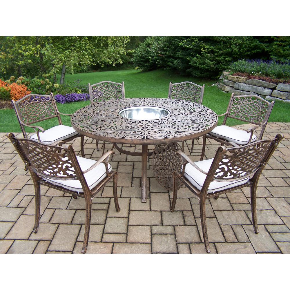 8 Piece Aluminum Outdoor Dining Set with Oatmeal Cushions