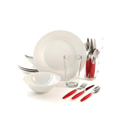 Delightful Dining 24-Piece Red and White Dinnerware Set