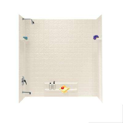 32 in. x 60 in. x 59.6 in. 5-Piece Square Tile Easy Up Adhesive Alcove Tub Surround in Bone