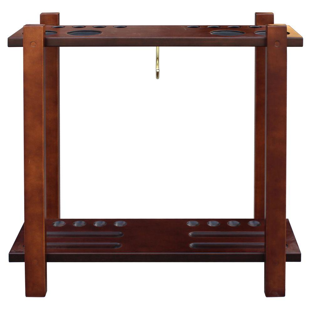 Classic Floor Billiard Pool Cue Rack in Rich Mahogany