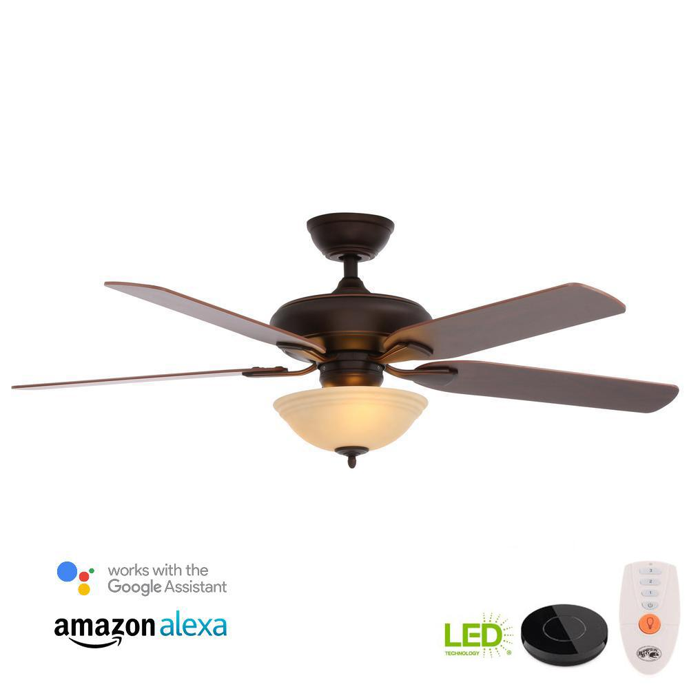 Flowe 52 in. LED Mediterranean Bronze Ceiling Fan with Light Kit