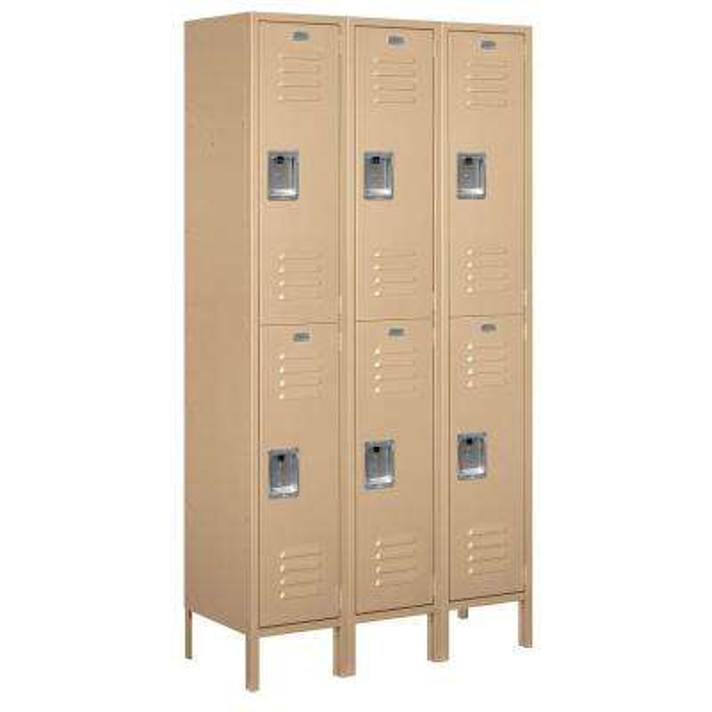 52000 Series 45 in. W x 78 in. H x 15 in. D Double Tier Extra Wide Metal Locker Unassembled in Tan