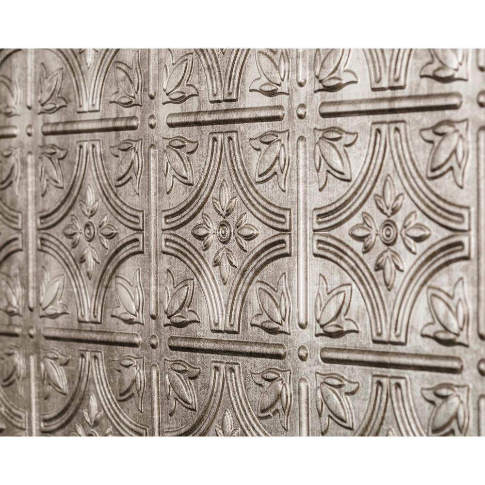 Empire 18.5 in. x 24.3 in. PVC Backsplash Panel in Crosshatch Silver (9-Piece)