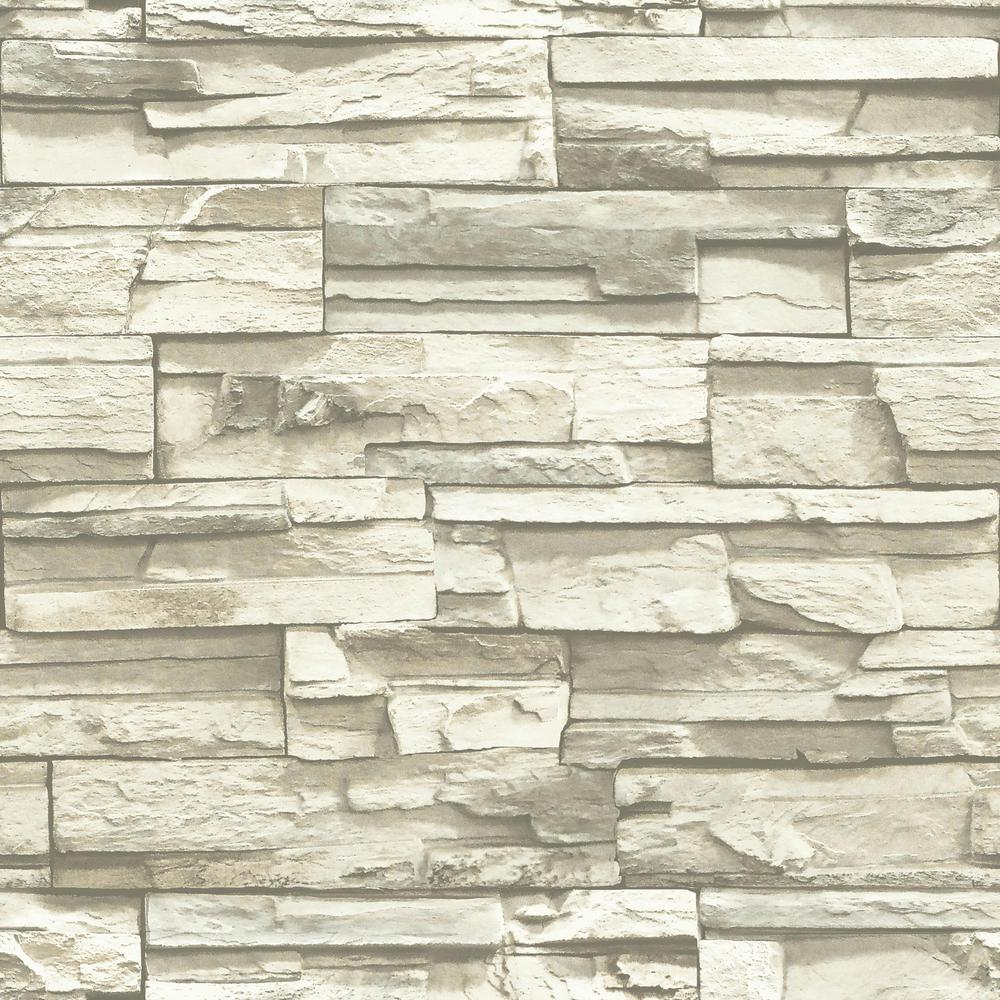 Roommates Natural Stacked Stone Vinyl Peelable Roll Covers 28 18 Sq Ft Rmk9026wp The Home Depot