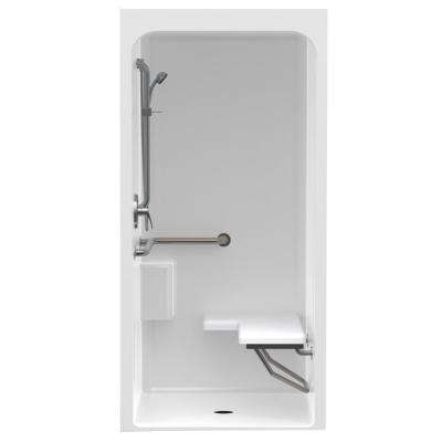Accessible Smooth Wall Cast Acrylic 36 in. x 36 in. x 80-7/16 in. 1-Piece Shower Kit, RH Seat, Center Drain in White