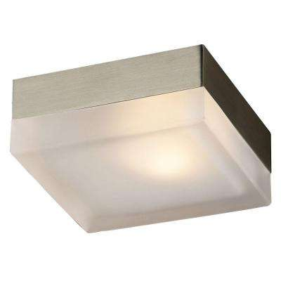Flush Mount 1-Light Satin Nickel Ceiling Light with Frost Glass