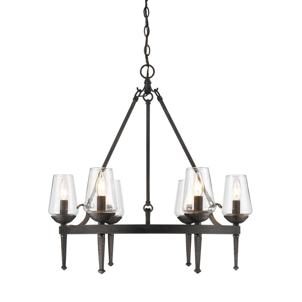 Marcellis 6-Light Dark Natural Iron Chandelier with Clear Glass Shade
