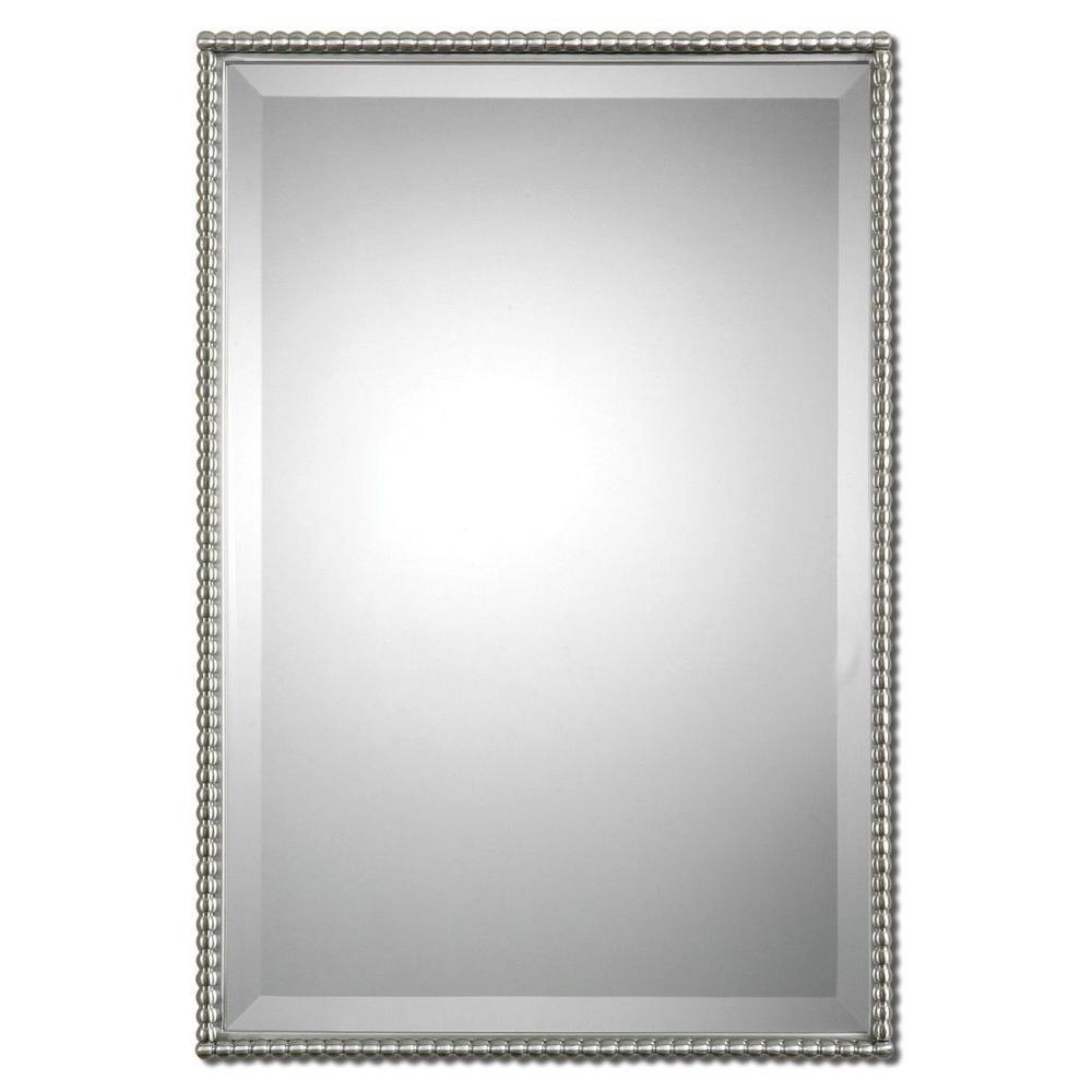 Global Direct 31 in. x 21 in. Beaded Nickel Framed Mirror