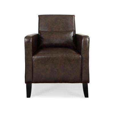 Flare Wenge Faux Leather With Pillow Accent Chair