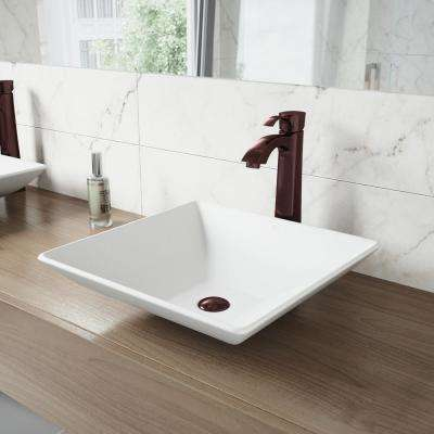 Hibiscus White Matte Stone Vessel Bathroom Sink and Otis Bathroom Vessel Faucet in Oil Rubbed Bronze