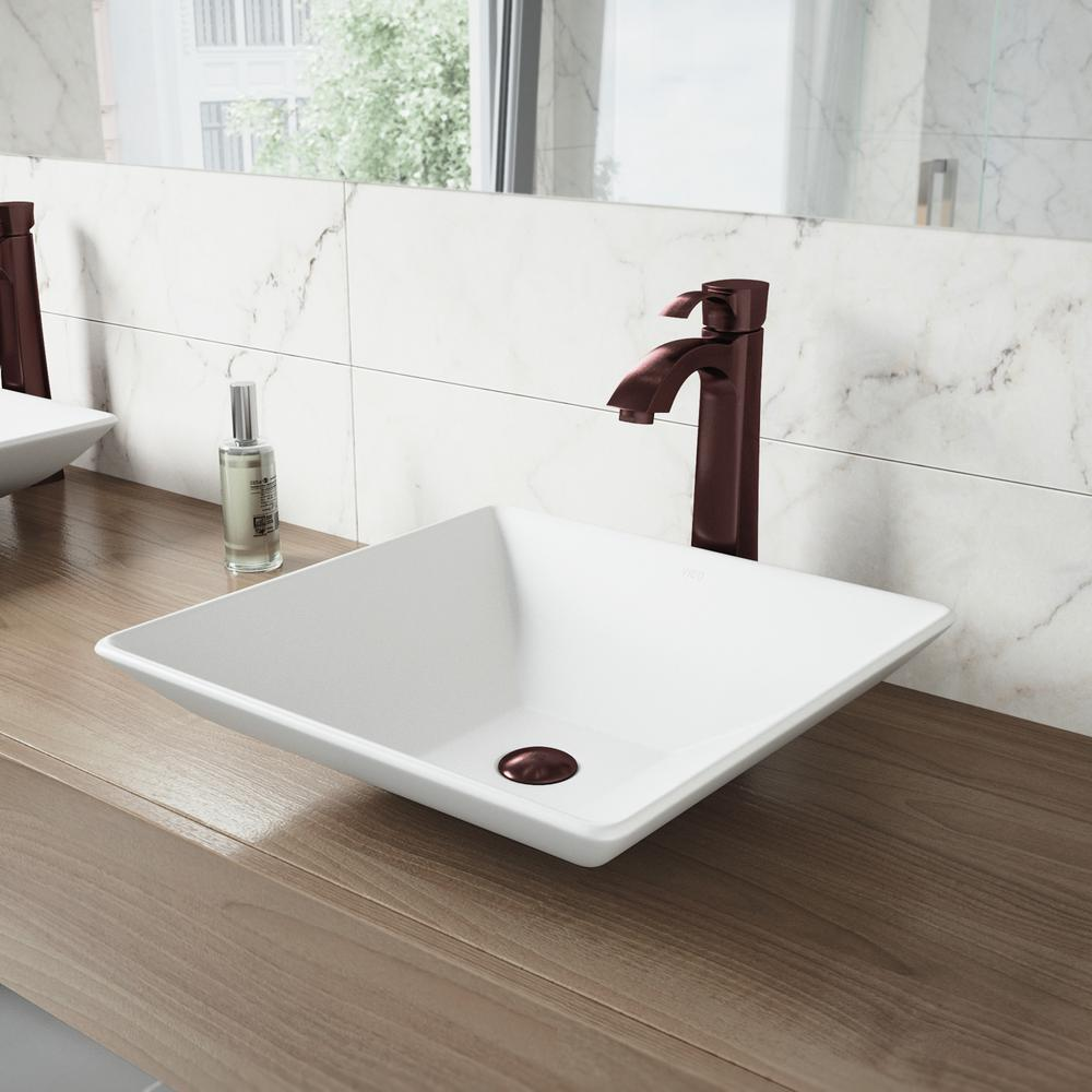 superior Vigo Sinks And Faucets Part - 2: VIGO Hibiscus Matte Stone Vessel Sink and Otis Bathroom Vessel Faucet in  Oil Rubbed Bronze