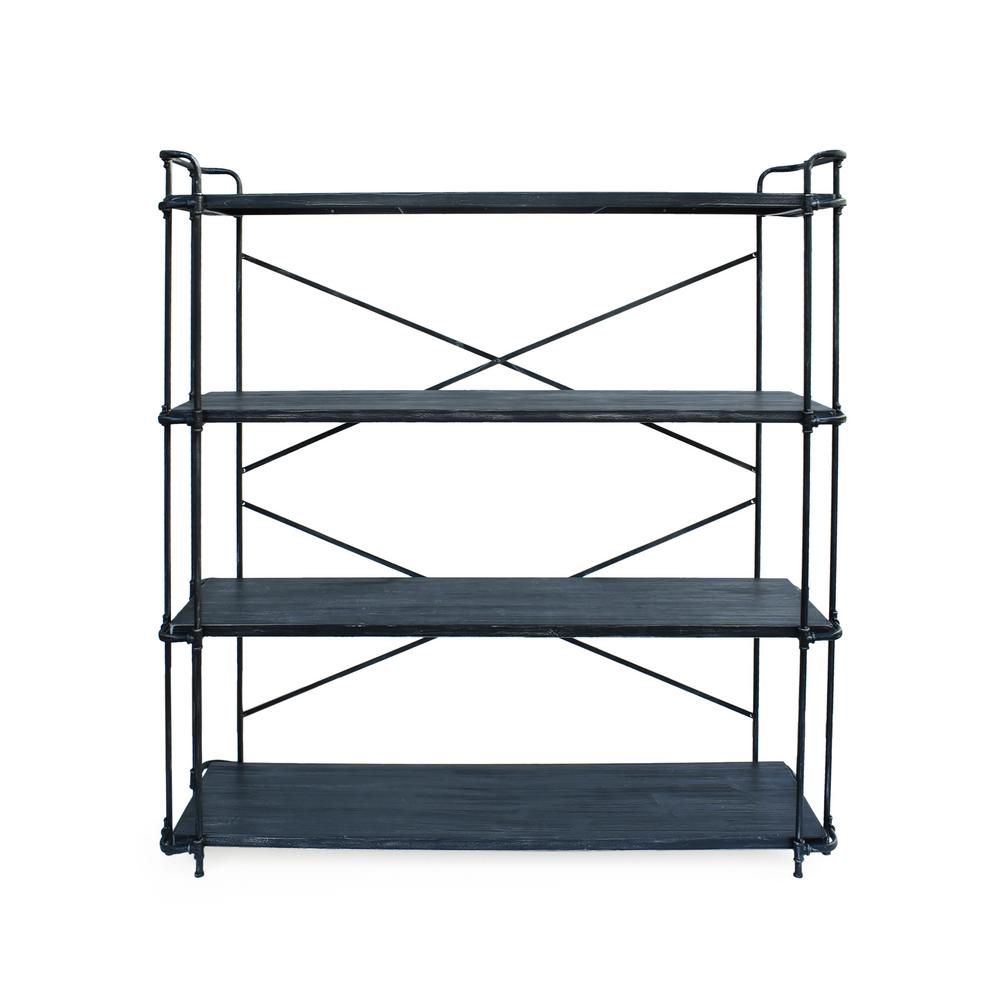 NobleHouse Noble House Cedarburg Industrial Brushed Dark Gray 4-Tier Fir Wood Outdoor Shelf with Pewter Iron Frame, Brushed Dark Gray/ Pewter Gray
