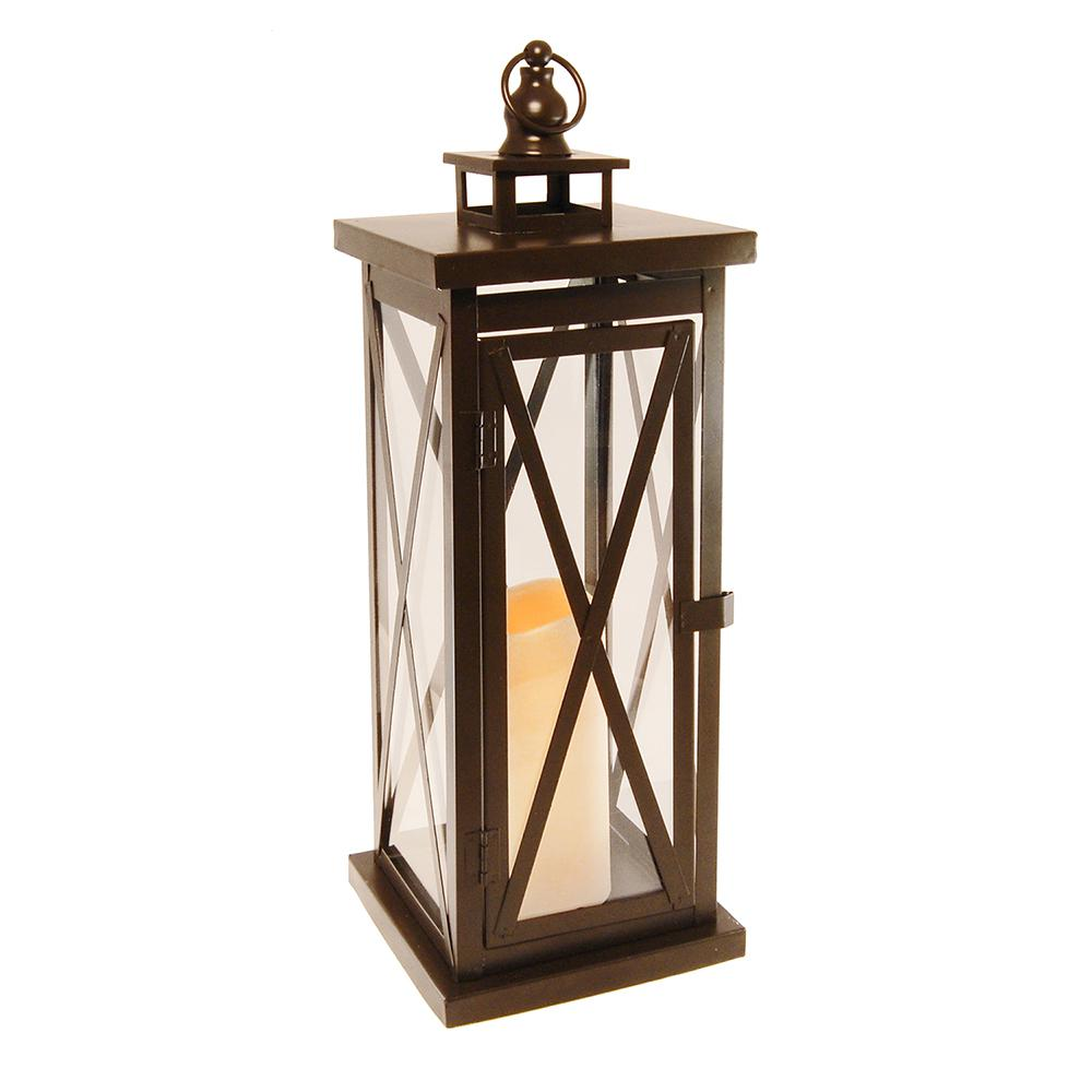 Lumabase Metal Lantern - Warm Black Criss Cross with Battery Operated LED Candle