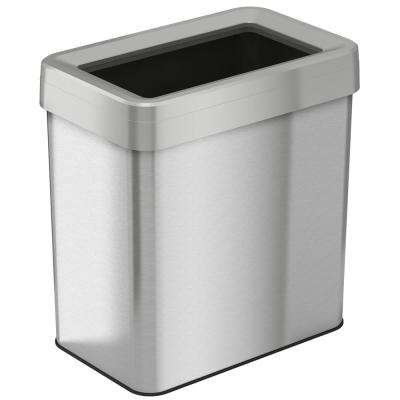 16 Gal. Rectangular Open Top Commercial Grade Stainless Steel Trash Can and Recycle Bin with Dual-Deodorizer