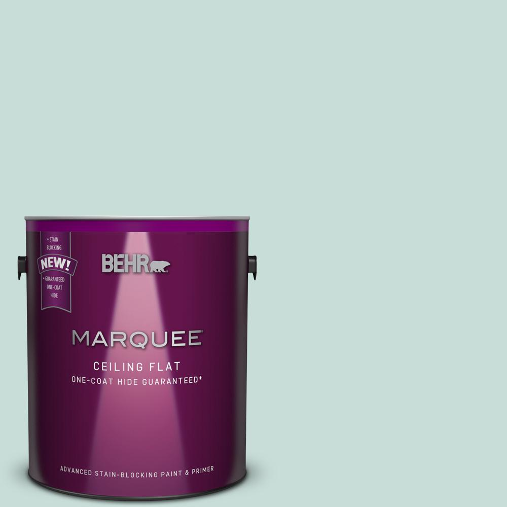BEHR MARQUEE 1 gal. #MQ3-20 Tinted to Whipped Mint One-Coat Hide Flat Interior Ceiling Paint and Primer in One