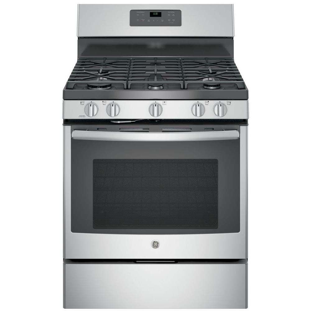 ae010d53b GE 30 in. 5.0 cu. ft. Gas Range with Self-Cleaning Oven in Stainless ...