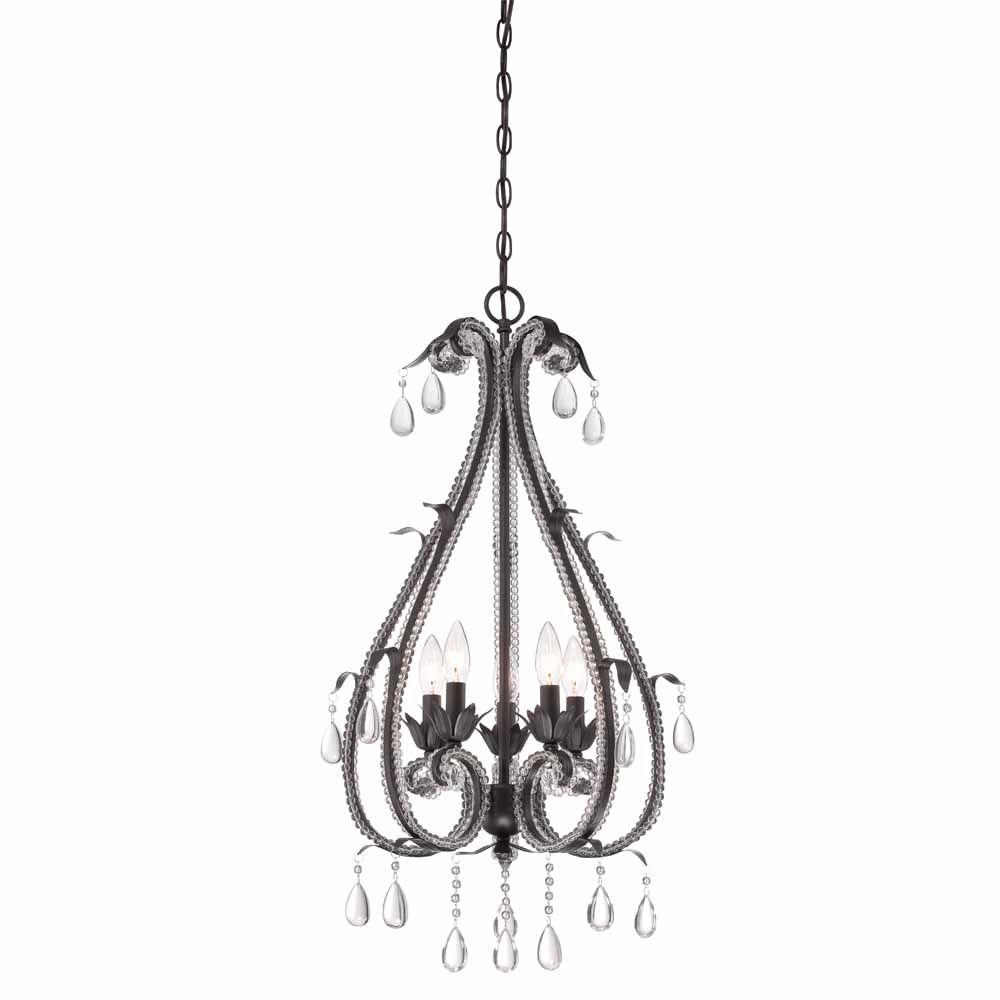 Hampton Bay Signature 5 Light Oil Rubbed Bronze Hanging Chandelier Hb3452 34 The Home Depot