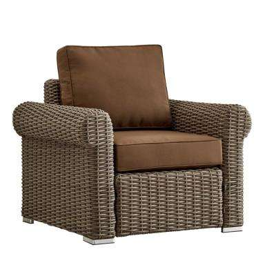 Camari Charcoal Rolled Arm Wicker Outdoor Patio Lounge Chair with Brown Cushion