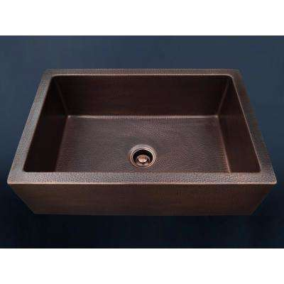 Luxury 33 in. Heavy 12-Gauge Dark Copper Single Bowl Farmhouse Kitchen Sink Flat Front Includes Grid and Flange