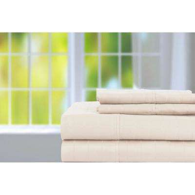 4-Piece Ash Solid 450 Thread Count Cotton King Sheet Set