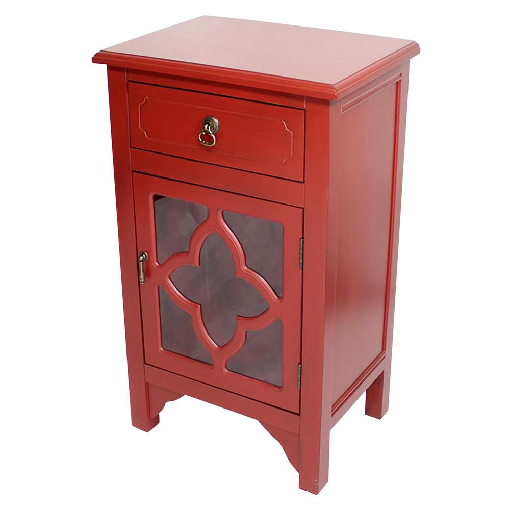 - HomeRoots Shelly Assembled Red D Wood Clear Glass Accent Utility