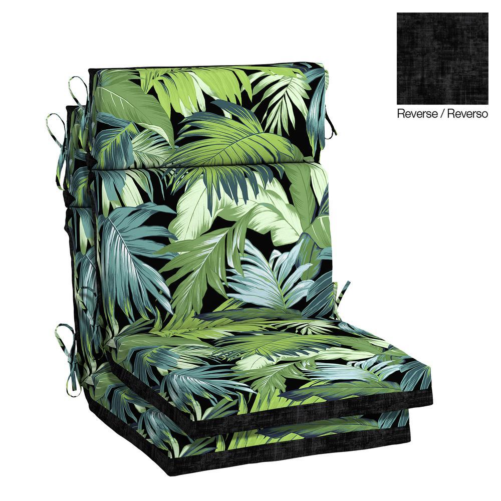 Bon 21.5 X 20 Outdoor Dining Chair Cushion In Olefin Black Tropicalia