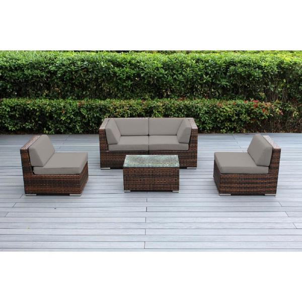 Ohana Mixed Brown 5-Piece Wicker Patio Seating Set with Sunbrella Taupe Cushions