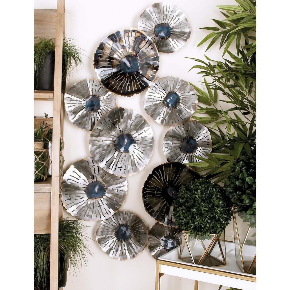 46 in. x 28 in. Rustic Flat Floral Iron Metal Wall Decor