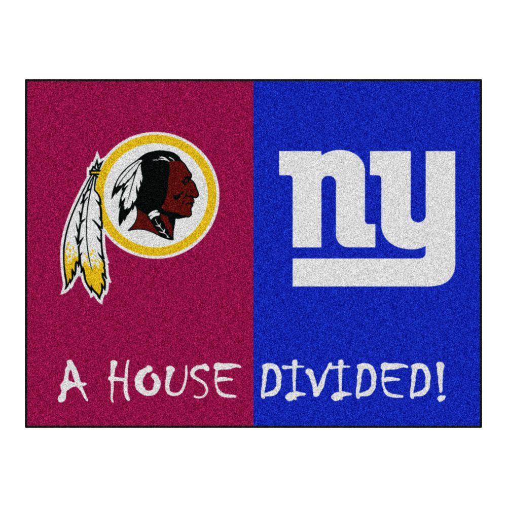 NFL Redskins / Giants Burgundy House Divided 3 ft. x 4 ft. Area Rug