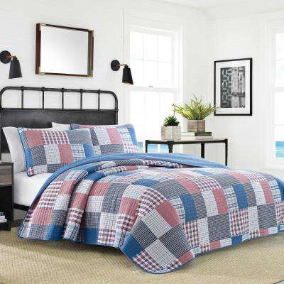 Seaside Patchwork Blue Full/Queen Cotton Quilt Set