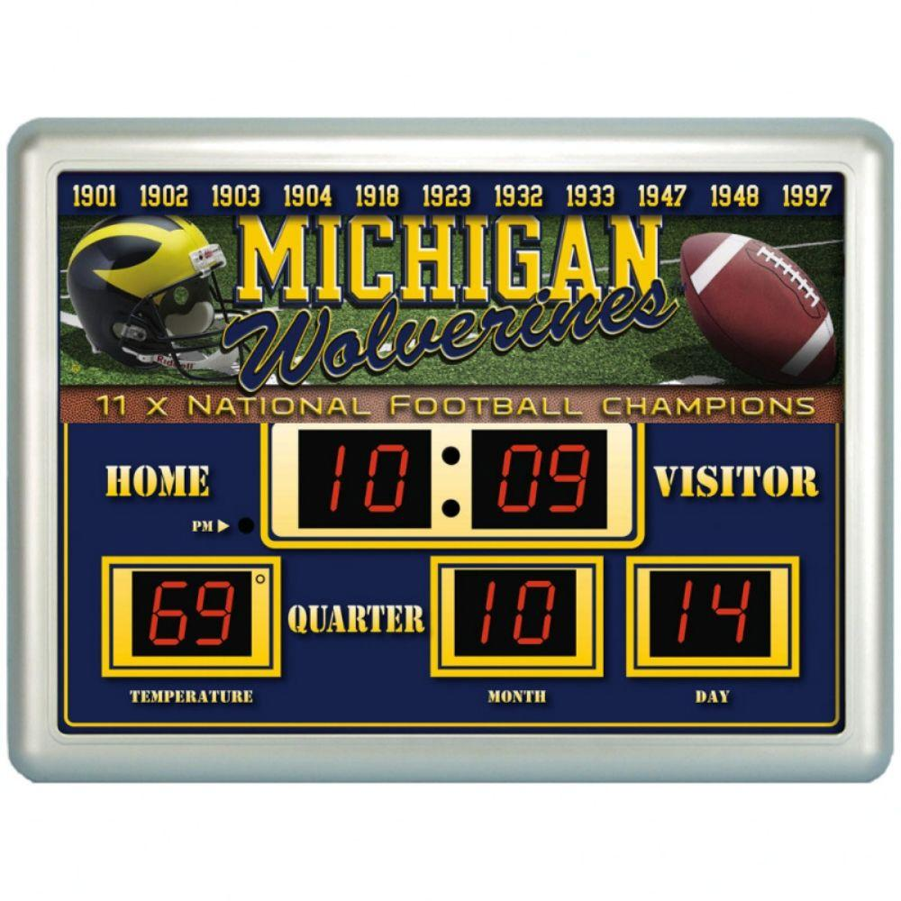 null University of Michigan 14 in. x 19 in. Scoreboard Clock with Temperature