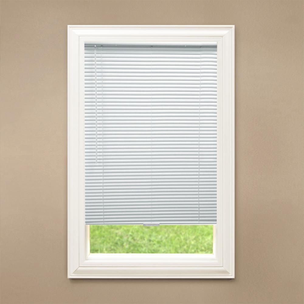 "Cordless Window Blinds Mini Blinds 1/"" Black White Alabaster Wood Vinyl Blind"