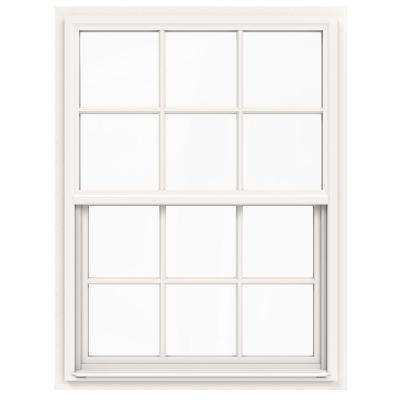 36 in. x 42 in. V-4500 Series White Single-Hung Vinyl Window with 6-Lite Colonial Grids/Grilles