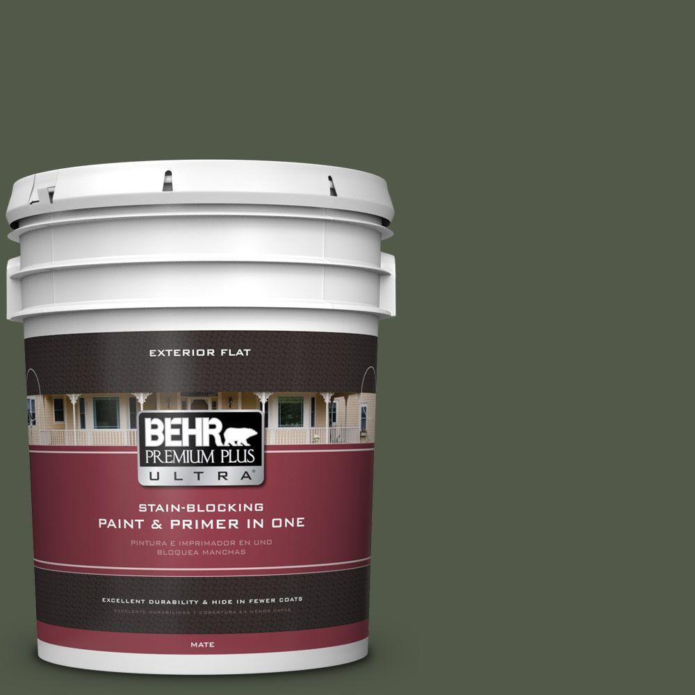 BEHR Premium Plus Ultra 5-gal. #430F-7 Windsor Moss Flat Exterior Paint