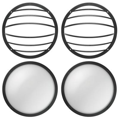 Shorebreaker Kit 10 in. Black Round LED Outdoor Coastal Bulkhead Light Wall Ceiling Includes 2 Fixtures - 2 Grill Guards