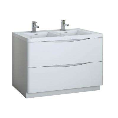 Tuscany 48 in. Modern Double Bath Vanity in Glossy White with Vanity Top in White with White Basin