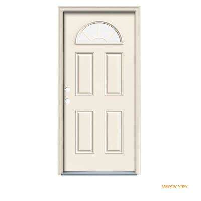 32 in. x 80 in. Fan Lite Primed Steel Prehung Right-Hand Inswing Front Door