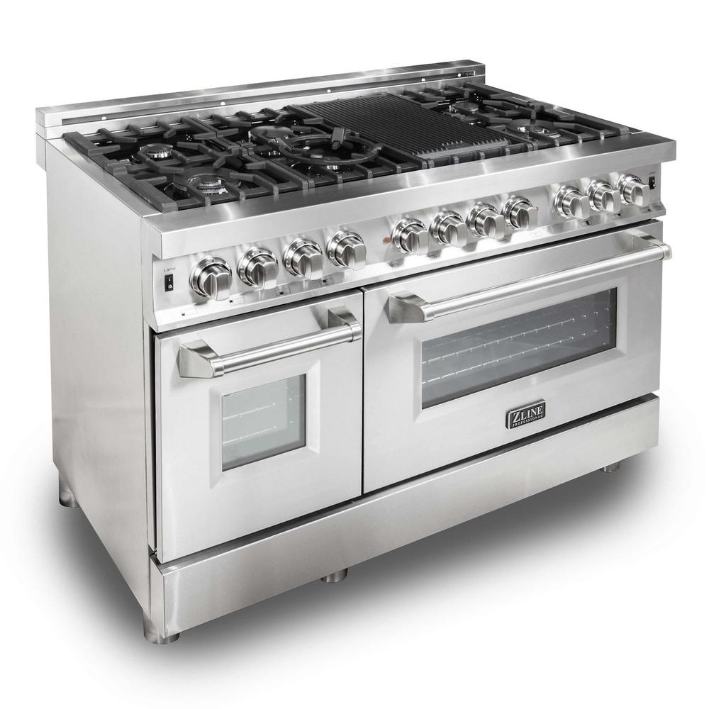Zline 48 In Stainless Steel 6 0 Cu Ft 7 Gas Burner Electric Oven Range