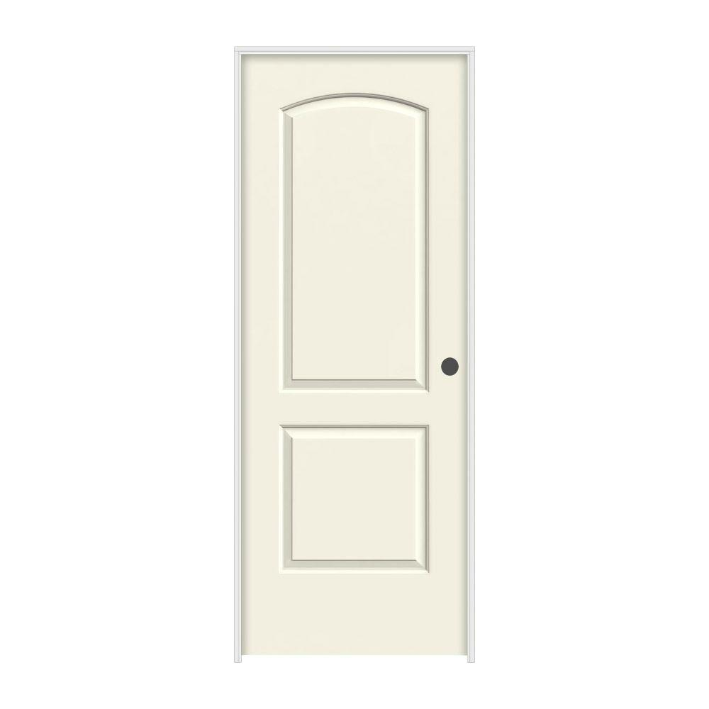 32 in. x 80 in. Continental Vanilla Painted Left-Hand Smooth Molded