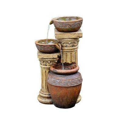 Classic 3-Pot and Column Water Fountain with Led Light