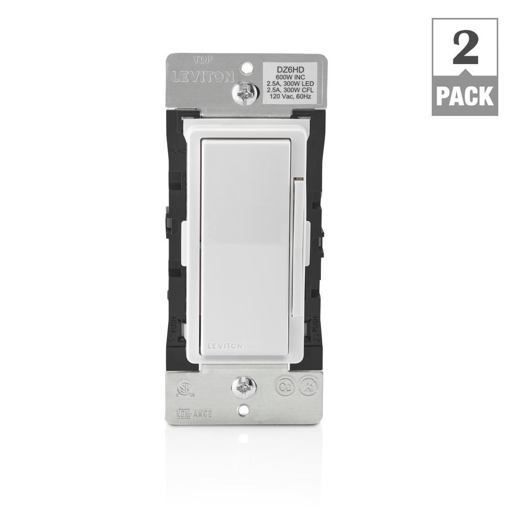Decora Smart with Z-Wave Technology 600-Watt Dimmer, White/Light Almond (2-Pack)